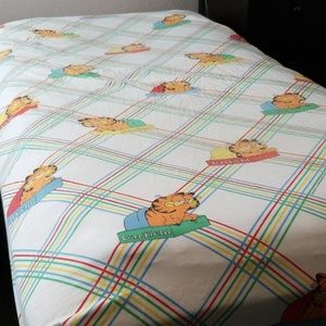 Vintage Bedding Rad 80s Garfield Fitted Sheet Twin Poshmark